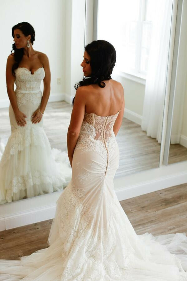 Sweetheart Mermaid Tiered Lace Wedding Dress Ruched with Tulle Court Train PFW0195