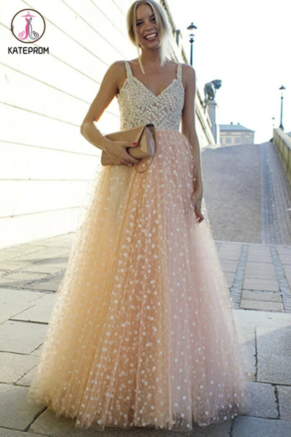 Kateprom Sparkly Prom Dresses A-line Straps Beading Long Beautiful Prom Dress Sexy Evening Dress KPP1348