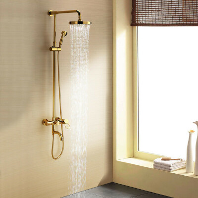 Ti-PVD Wall Mount Rain + Handheld Shower Faucet At FaucetsDeal.com