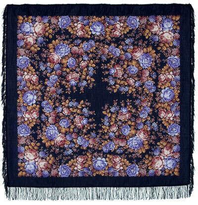 Павлопосадский платок (на чёрном фоне)