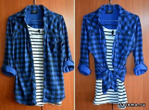 Синюю клетчатую рубашку
