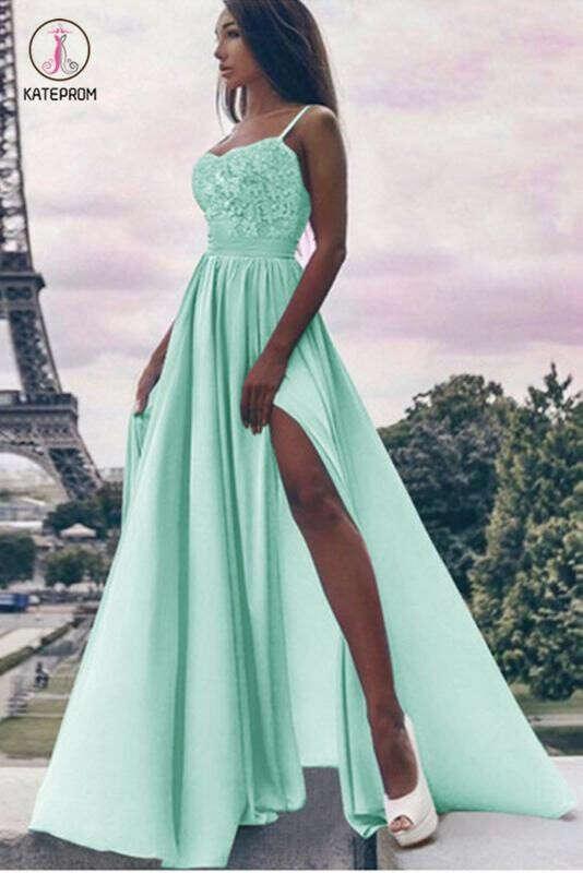 Mint Green Spaghetti Straps Prom Dress Long, Long Split Evening Dress with Lace KPP0680