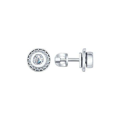 Серебряные пусеты с круглой вставкой из фианитов
