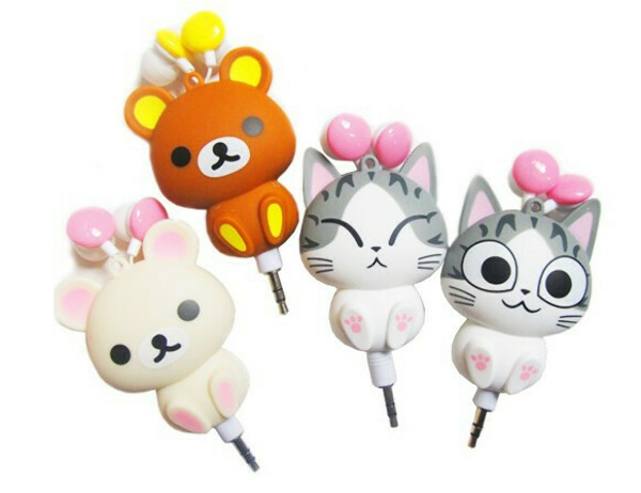 Free Shipping !  lovers,couples headphones/ cartoon retractable earphones cheese cat/ in ear computer mobile phone headphones on Aliexpress.com