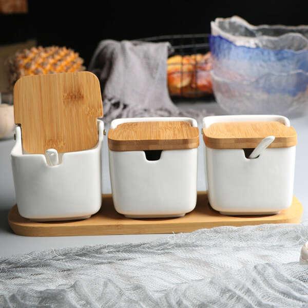 591.02руб.  Кухонная стойка для специй, керамическая Солонка и перца, банка для сахара, Бамбуковая деревянная банка для специй WJ10124 on AliExpress