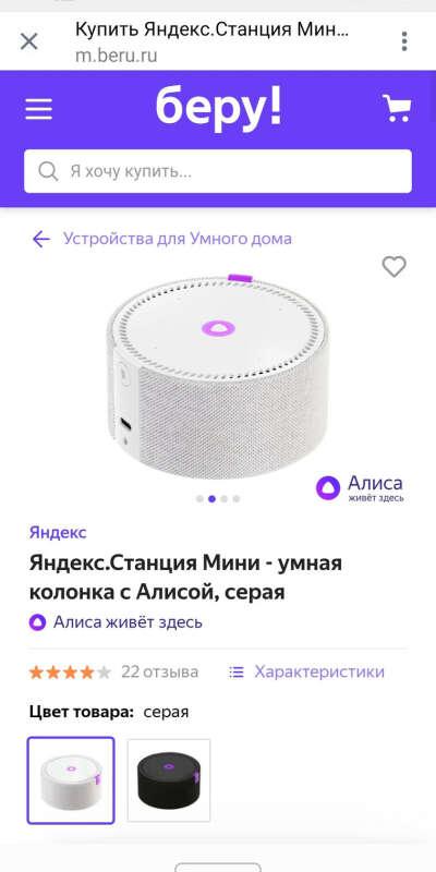 Купить Яндекс.Станция Мини - умная колонка с Алисой, серая по низкой цене с доставкой из маркетплейса Беру