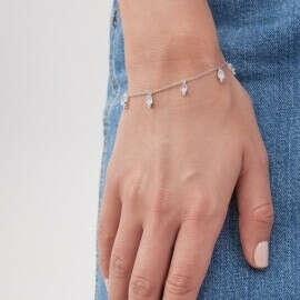 Серебряный браслет с лунными камнями
