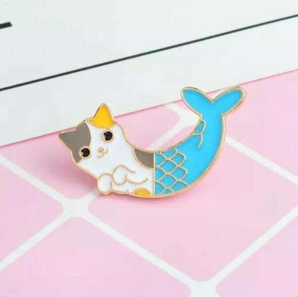 Значок Cat Mermaid Брошь Эмаль