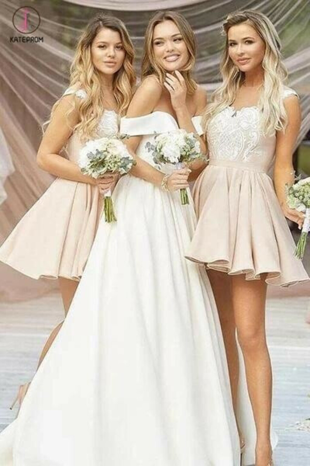 A-Line Short Bridesmaid Dress With Lace Appliques, Hot Selling Homecoming Dress KPB0029