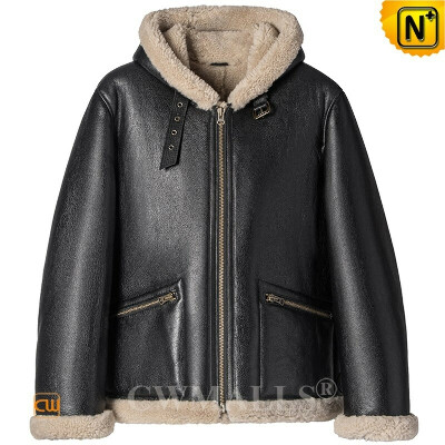 Sheepskin Bomber Jacket   Mens Sheepskin Shearling Bomber Jacket with Hood CW828666   CWMALLS®