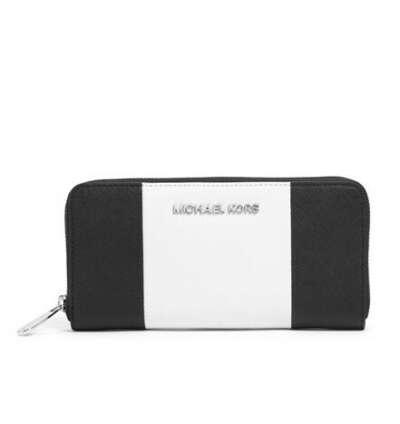 MICHAEL Michael Kors Jet Set Center-Stripe Zip-Around Wallet