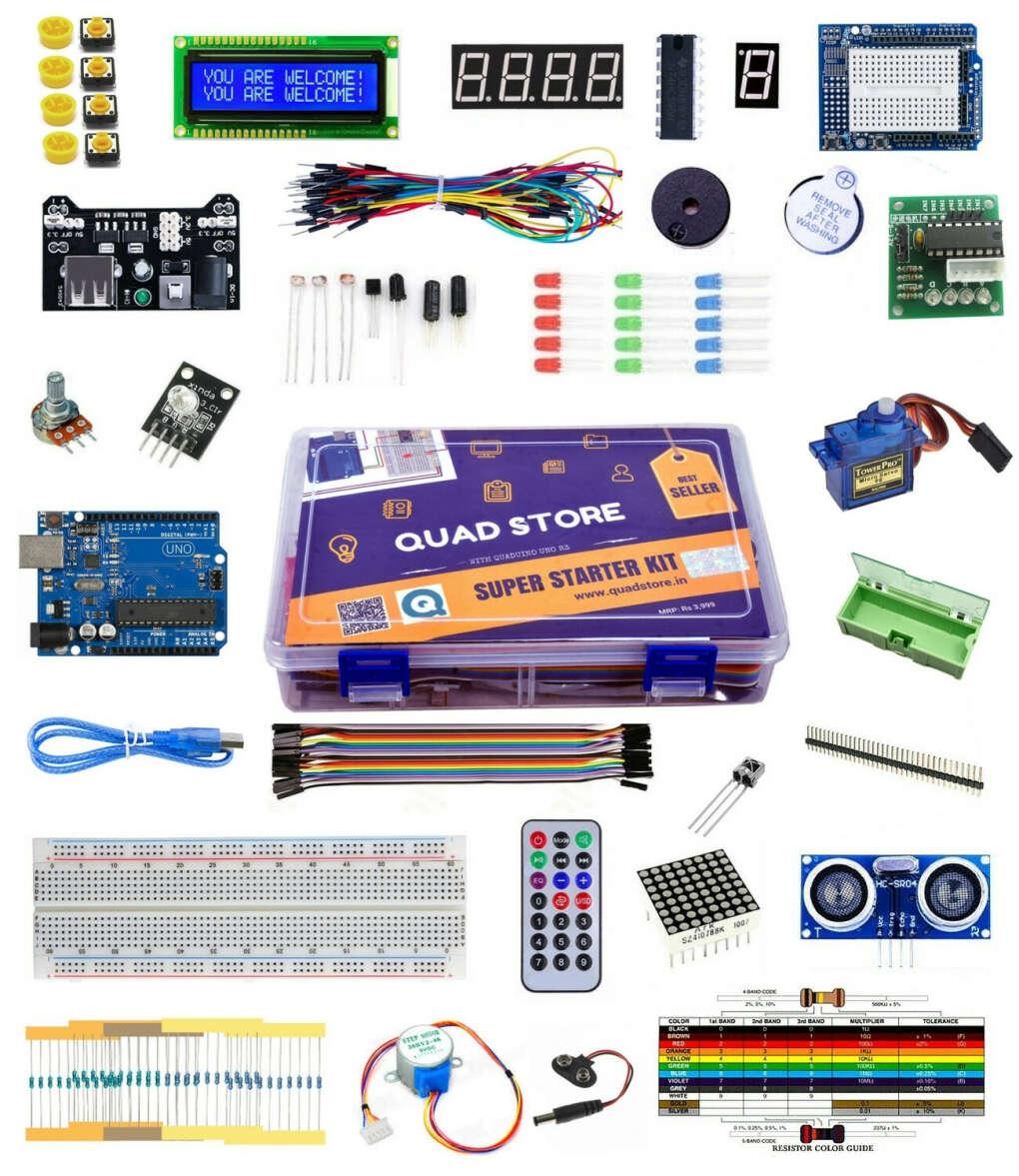 Super Starter Arduino Kit India Online with Uno R3 (Beginner's Kit) - Quad Store