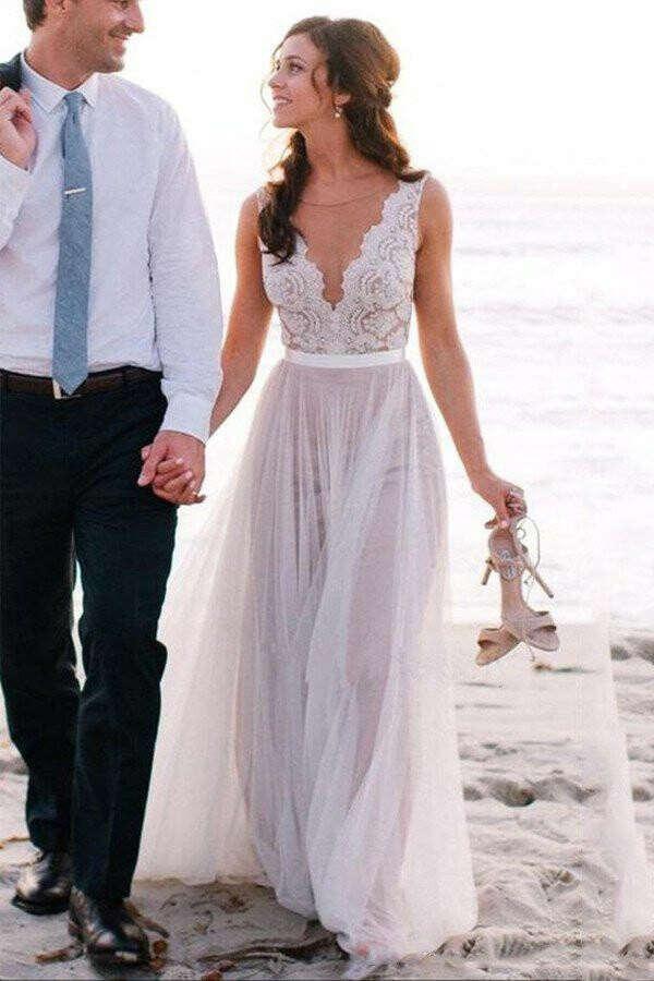 Elegant Beach Coast Wedding Dresses,Lace A Line Tulle Bridal Dresses For Beach Wedding PFW0259