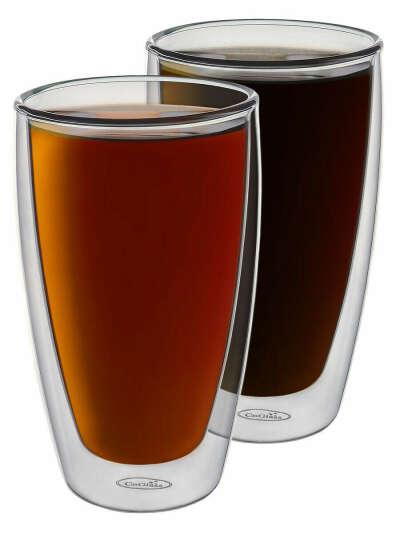Набор высоких стаканов с двойными стенками для кофе латте и холодных напитков 2 шт. по 300 мл