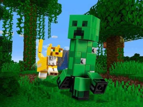 Конструктор Minecraft (Майнкрафт) 21156 Большие фигурки Minecraft, Крипер и Оцелот LEGO® (ЛЕГО) - купить в Сети сертифицированных магазинов LEGO, Москва