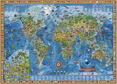 Пазл Heye -Географическая карта Земли, 2000 деталей
