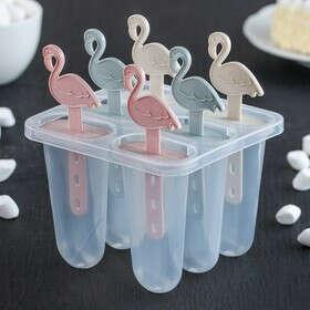 """Форма для мороженого 11x11x14 см """"Фламинго"""", 6 ячеек, цвета МИКС"""