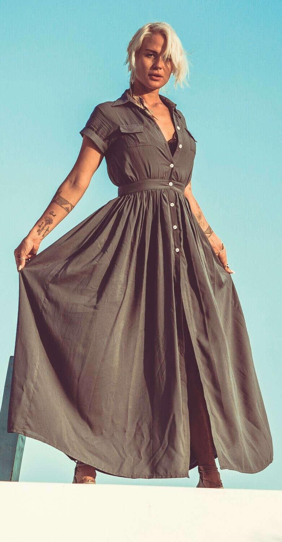 платье рубашка серое с коротким рукавом  Curly House.