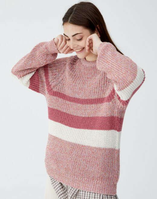 Большой объемный свитер с узором