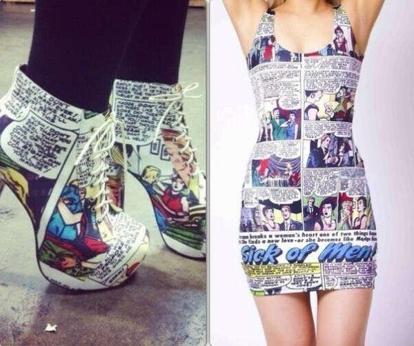Платье и туфли.