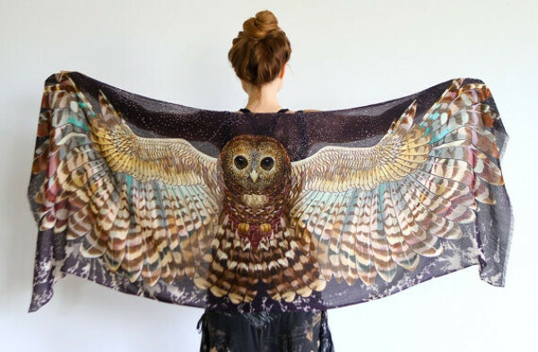 Owl art scarf, NIGHT version, Hand painted printed Owl Wings, stunning unique and useful, perfect gift