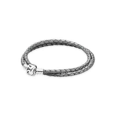 PANDORA | Двойной кожаный браслет с застежкой из серебра, серый