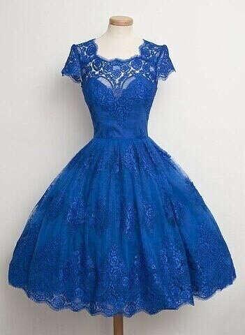 Синее винтажное платье