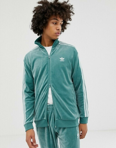 Зеленая велюровая спортивная куртка adidas Originals