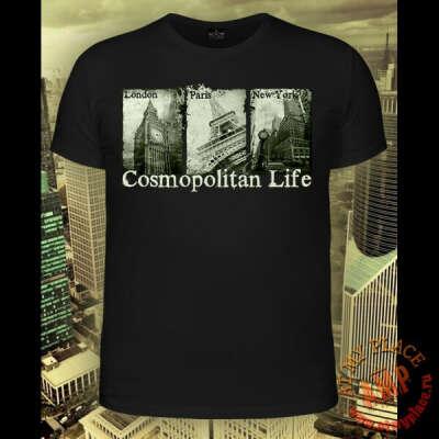 Черная мужская футболка Cosmopolitan Life