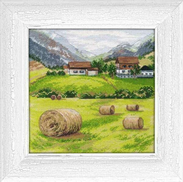 Вышивка с полем и сеном (Тоскана)