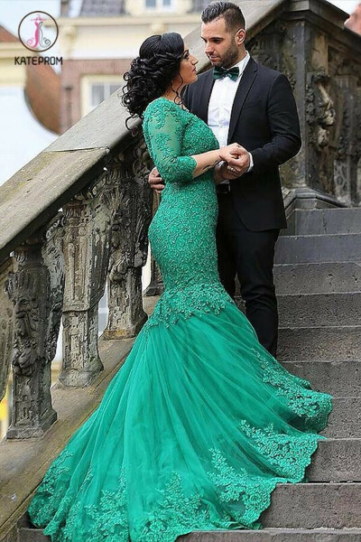Green Mermaid V-neck Tulle Applique 3/4 Sleeves Long Plus Size Prom Dresses KPP0588