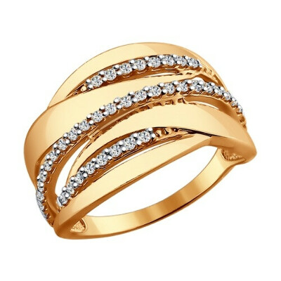 Кольцо из золочёного серебра с фианитами арт. 93010537