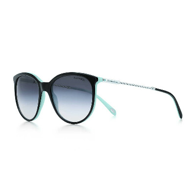 Tiffany Twist round sunglasses in silver-colored metal and black acetate.
