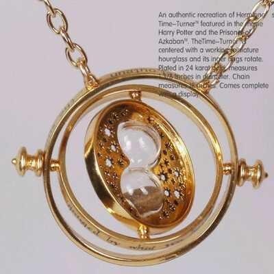 New 24K Gold Plated Harry Potter Time Turner Hermione Granger Rotating Spins Gold Hourglass Necklace Wholesale-in Chain Necklaces from Jewelry on Aliexpress.com