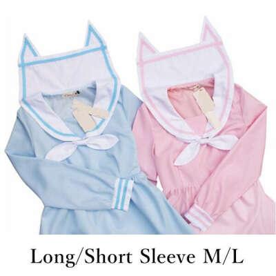 Blue Sailor Neko Cat Ear Collar Long Sleeve Dress SP152031