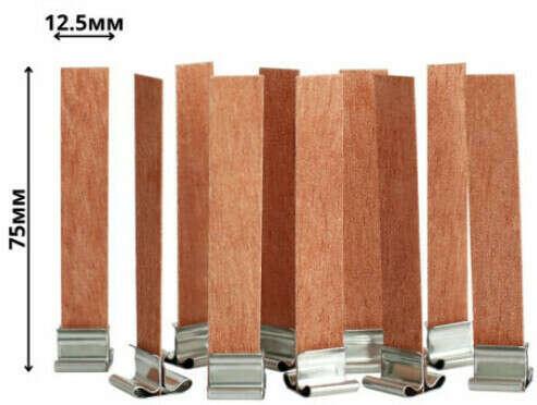 Polly Wax / Фитиль деревянный в наборе с держателем 10шт