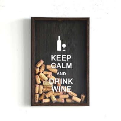 Копилка для винных пробок Keep Calm Ver.2  / Темный