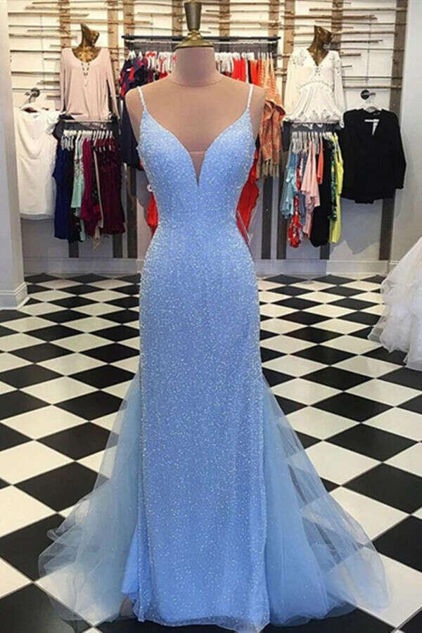 Promfast Backless Mermaid V Neck Light Blue Prom Dresses, Formal Dresses PFP1991
