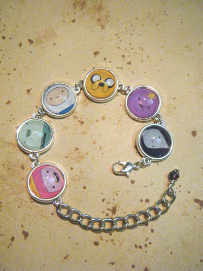 Silver Cameo Bracelet with Adventure Time Faces
