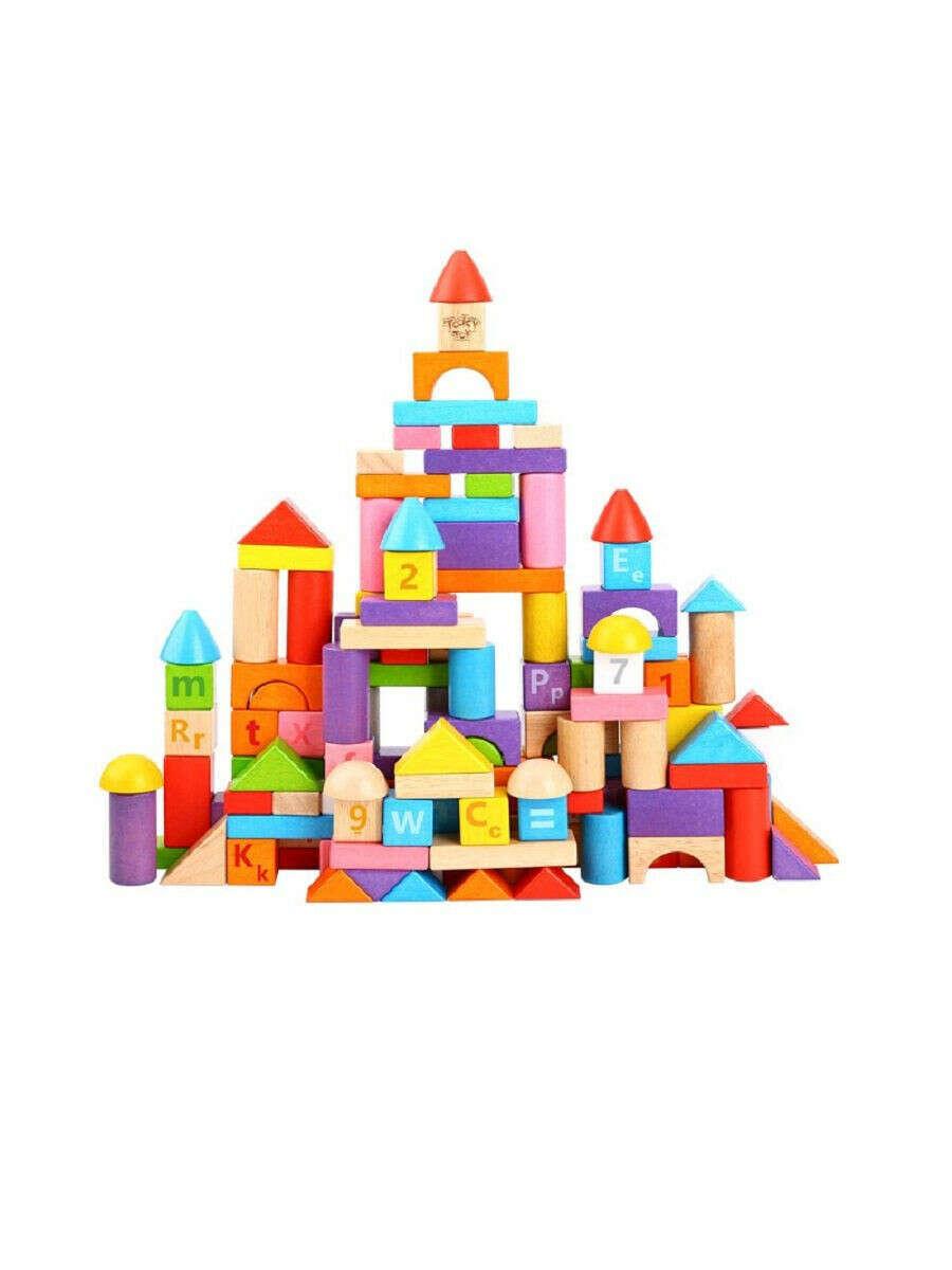 """Набор деревянных кубиков """"Буквы и цифры"""" 135 шт., Tooky Toy"""