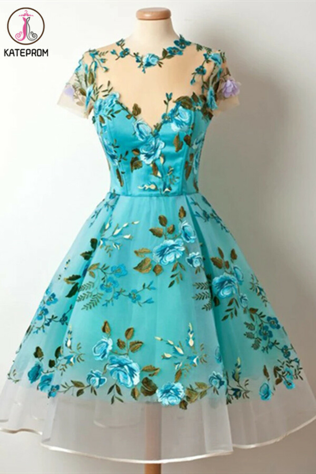 Kateprom Lace Homecoming Dresses Scoop A Line Floral Short Prom Dress Cute Party Dress KPP1338