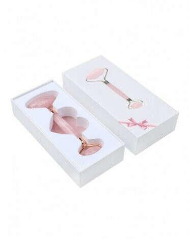 Набор: роллер-массажер для лица + кристалл для массажа Гуаша из натурального розового кварца, Beauty Style