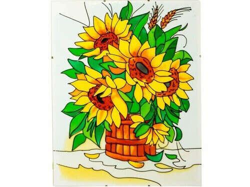 Витраж-раскраска «Подсолнухи»