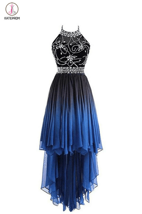 High Low Halter Sleeveless Chiffon Ombre Prom Dress, Beading Ombre Bridesmaid Dress KPB0026