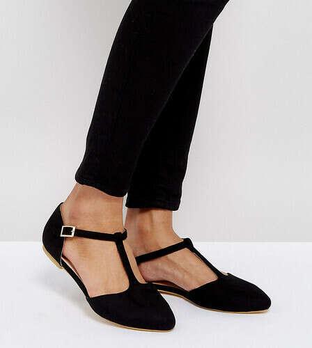 Туфли на плоской подошве для широкой стопы с Т-образным ремешком London Rebel - Черный 12290133 | LOOKBUCK