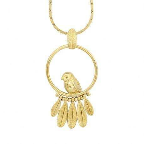 TARATATA | Купить Колье Picolo, золотистое с подвеской птица