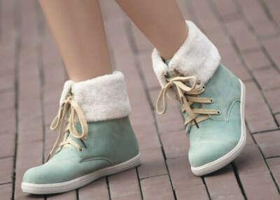 Ботинки замшевые с мехом зеленые