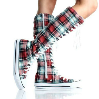Canvas Sneakers Knee High Boots