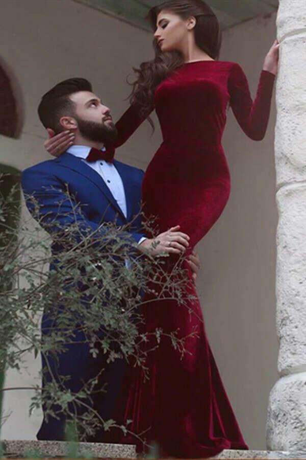 Kateprom Red prom dress, Mermaid Simple Long Sleeve Long Prom Dress, Evening Dress KPP1345