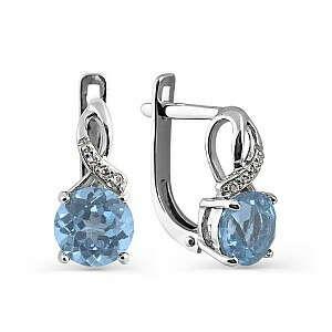 Серьги с бриллиантом, топазом (арт. Т301024597)